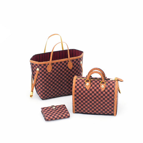 Brown Check Bag Set