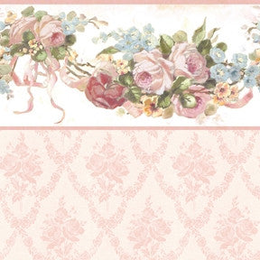Vintage Rose Swag Pink with Pink Trellis