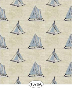 Sailboat Print, Blue