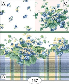 Wallpaper, Blue and Yellow Plaid, Border with Violets