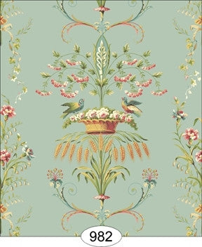 Neoclassic Wheat Bird, Floral Blue Wallpaper
