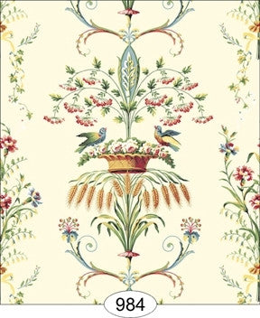 Neoclassic Wheat Bird, Floral Cream Wallpaper