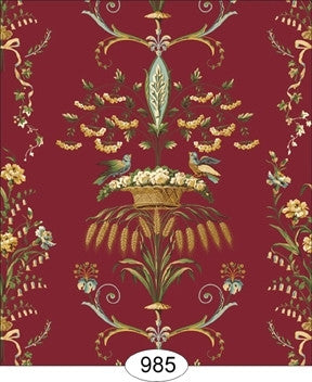 Neoclassic Wheat Bird, Floral Red Wallpaper