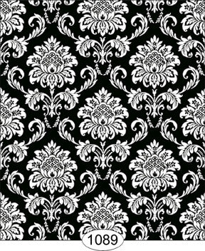 Cottage Damask, Black, Wallpaper