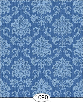 Cottage Damask, Blue, Wallpaper
