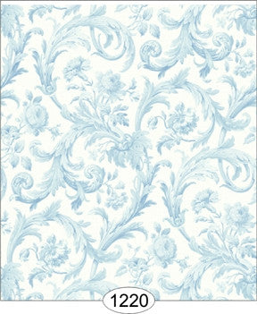 Cottage Acanthas Damask, Blue and White