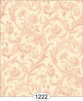 Cottage Acanthus Damask - Pink on Ivory
