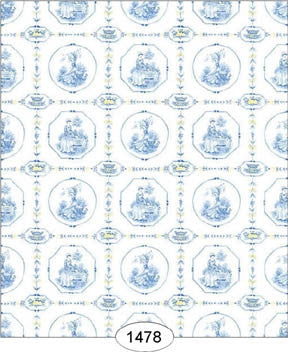 Enlgish Tile Wallpaper, Blue