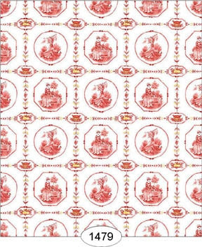 Enlgish Tile Wallpaper, Red