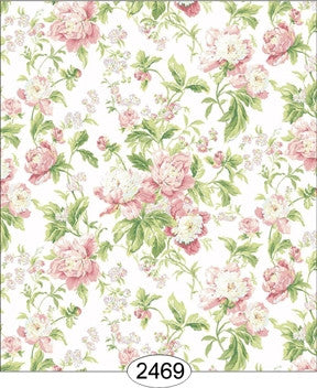 Wallpaper - Cozy Cottage Rose Garden - Pink on White