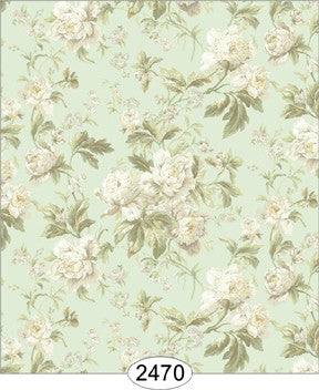 Wallpaper - Wallpaper - Cozy Cottage Rose Garden - White on Aqua