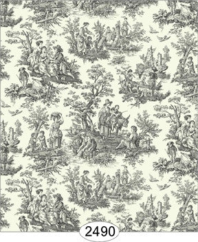 Wallpaper - Farm Life Toile - Black on Cream