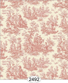 Wallpaper - Farm Life Toile - Pink Coral