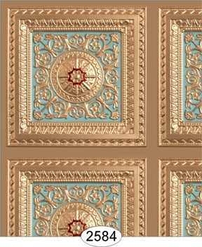 Rosette Panel Paper Gold Light Sky Blue Red