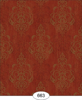 Damask, Distressed Burgandy, Wallpaper