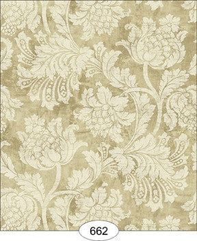 Damask, Floral, Pale Olive, Wallpaper