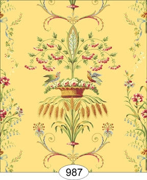 Neoclassic Wheat Bird, Floral Yellow Wallpaper