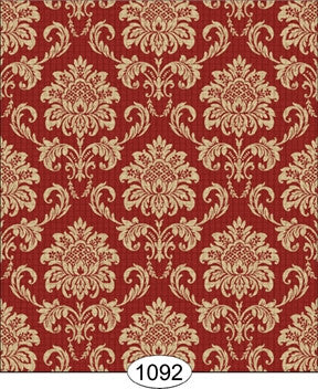 Cottage Damask, Red, Wallpaper