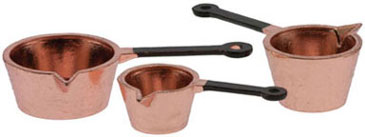 Copper Sauce Pans, Set of Three