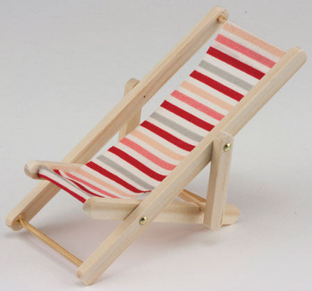 Beach Chair, Wood Finish with Stripes