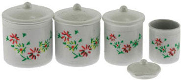 Canister Set, Four Piece White with Flowers