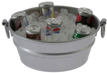 Tub with Ice and Canned Drinks