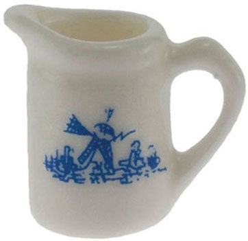 Pitcher, Ceramic, White with Blue