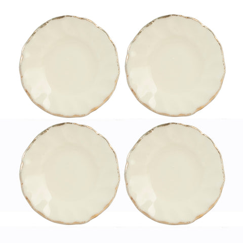 White Fluted Plates with Gold Trim, Set of Four