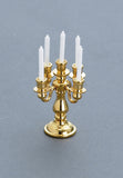 5-Arm Candelabra, Brass with White Candles