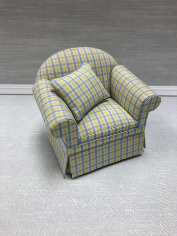 Ashley Blue and Yellow Plaid Chair