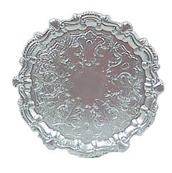 Serving Tray, Round, Silver with Scalloped Edges