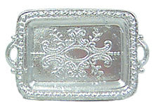Serving Tray, Small, Silver with Handles