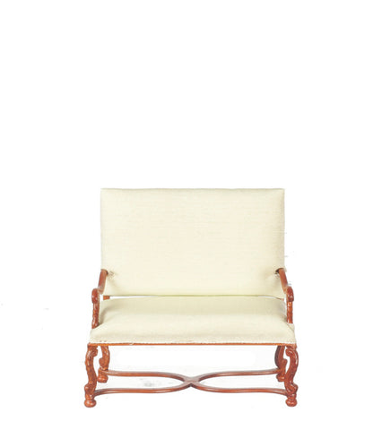 Two Seater Settee with Soft Green Silk