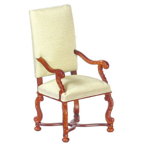 Single Seater High Back Chair, Green Silk