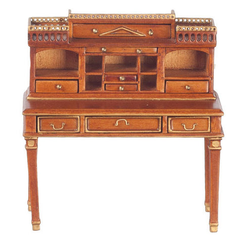 Writing Desk, Walnut with Gold Trim ON SPECIAL