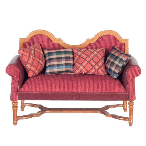 Settee, Red with Plaid Pillows