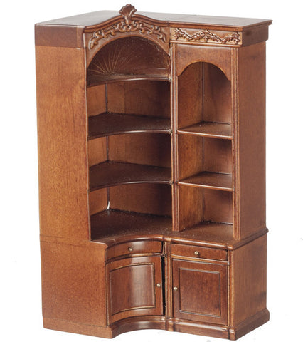Corner Display Cabinet, Walnut Finish