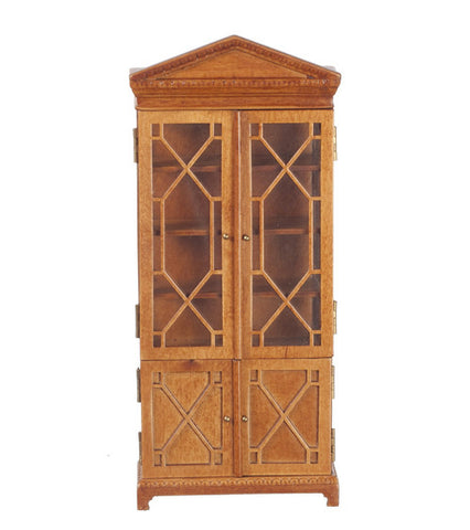 Display Cabinet with Fretwork, Walnut Finish