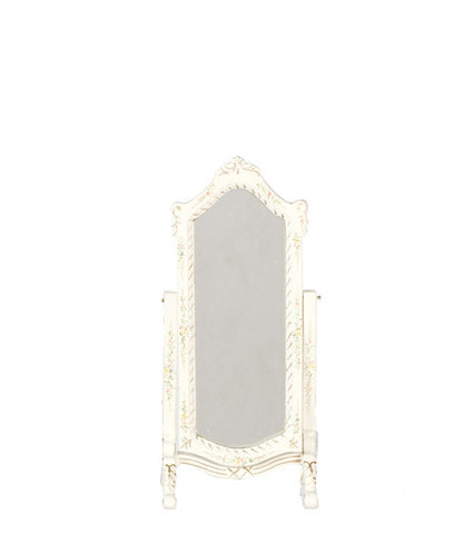 Standing pier mirror fancy white dollhouse junction for Fancy white mirror