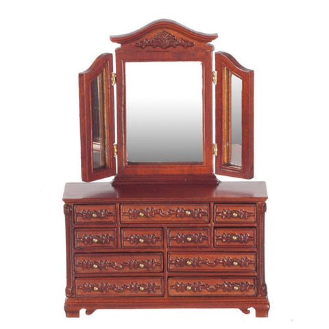 Dresser with Three Way Mirror, Walnut