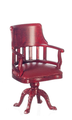 Swivel Desk Chair with Leather, Mahogany