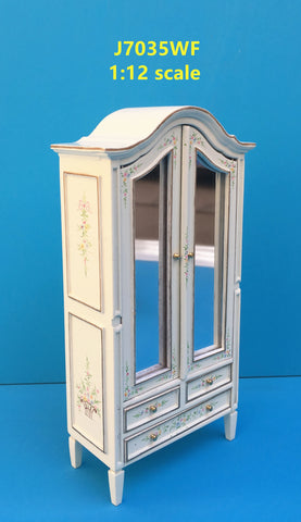 Armoire, White with Mirror and Floral Details
