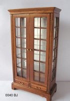 Curio Cabinet, Mirror Back, Walnut Finish