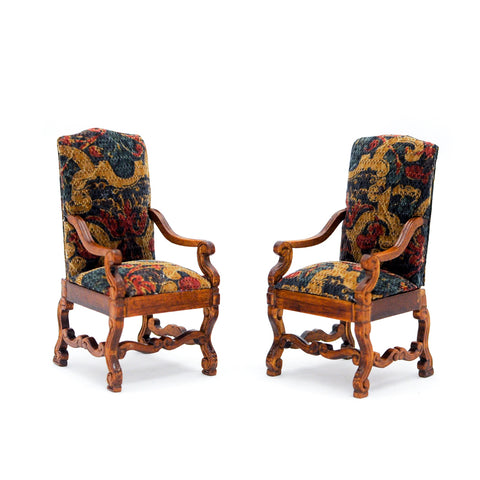 Pair of Arm Chairs, Silk Fabric, Walnut Finish