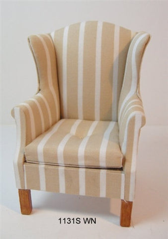 Wing Chair, Striped Beige and White, Walnut