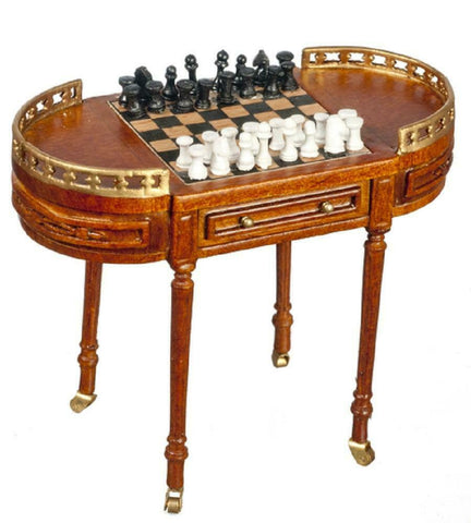 Chess Table, 17 Century Design with Caster Wheels and Game Pieces