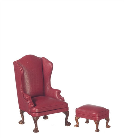 Queen Ann Easy Chair with Ottoman, Red Leather