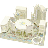 Dining Room Set, 10 Piece, Hand Painted Cream Floral