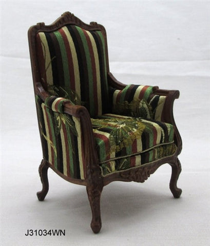 Victorian Arm Chair, Walnut and Stripes
