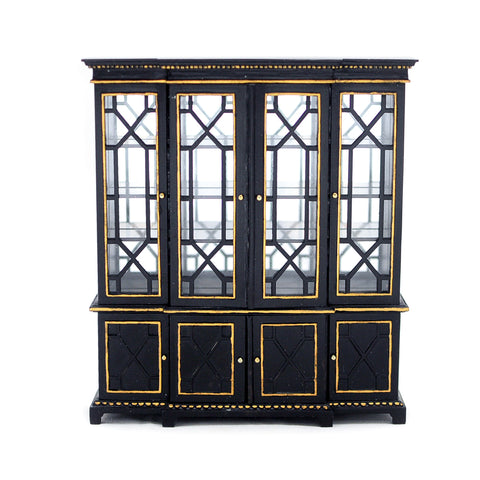 Late Georgian Bookcase, Black with Gold Trim